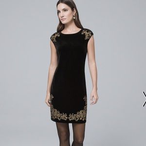 EMBROIDERED BLACK VELVET SHIFT DRESS